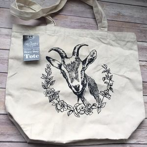 Handbags - Goat Shopper Tote Bag Heavy Duty w Goat & Flowers